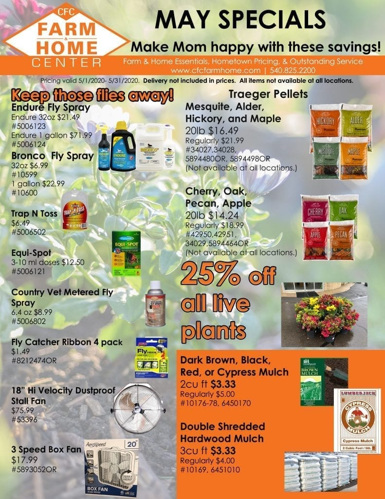 May Specials from your trusted Lawn and Garden Store, Pet Supply Store, Farm Clothing Store, and Farm Work Boots Store