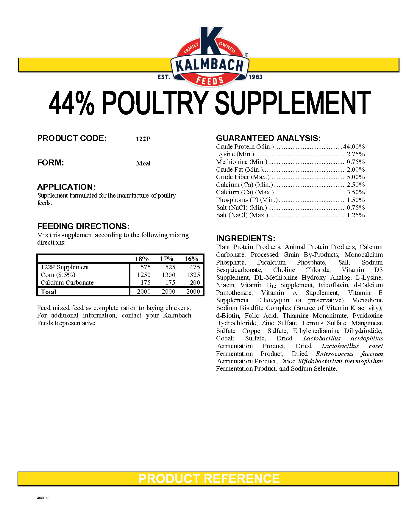 44% Poultry Supplement spec sheet