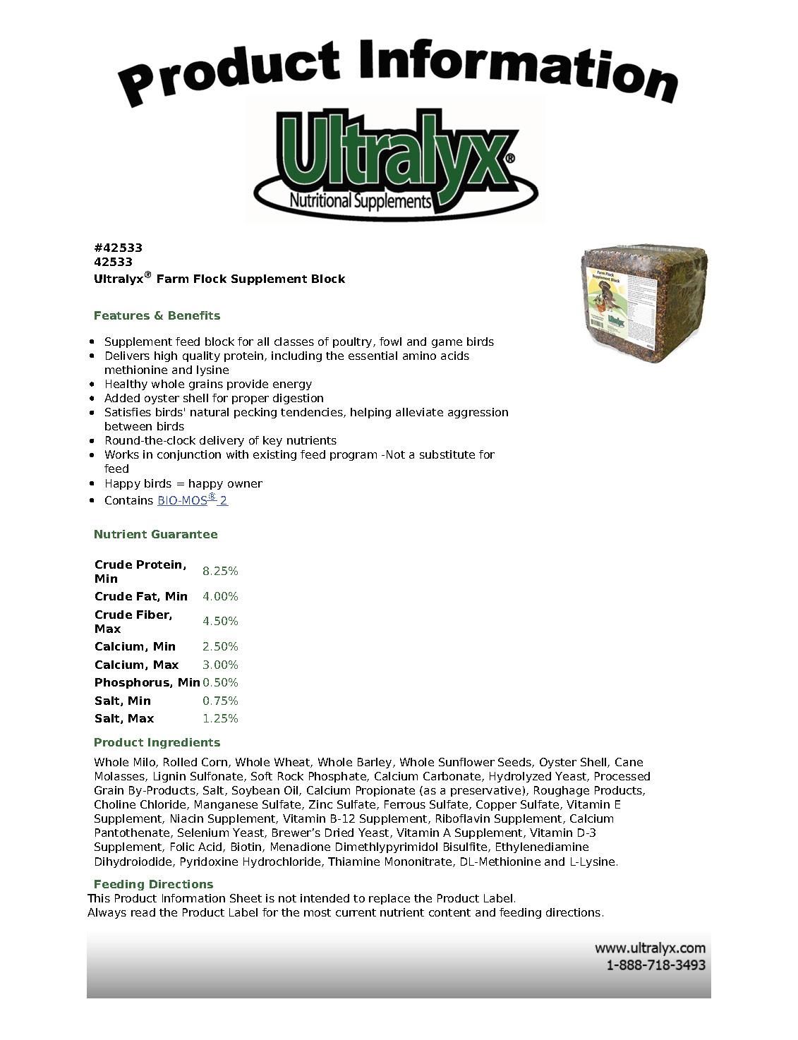 Farm Flock Supplement Block spec sheet