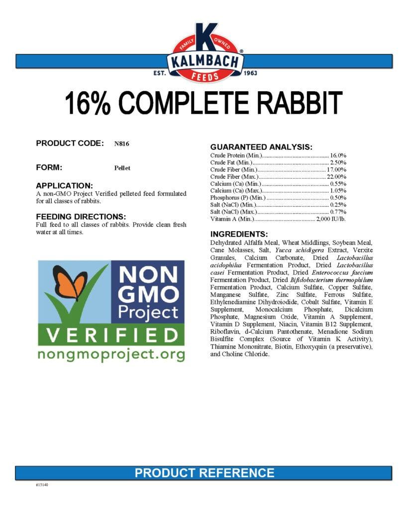 16% Complete Rabbit Feed Non-GMO